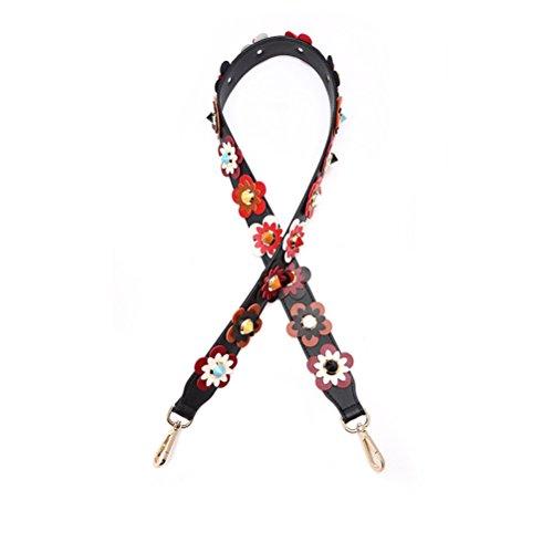 Umily Damen Taschengurt Bunter Schultergurt Tragegurt 105 cm einzigartiges und stilvolles Zubehör für alle Schultertaschen, Tragetaschen und Handtaschen-Schwarz B Blume