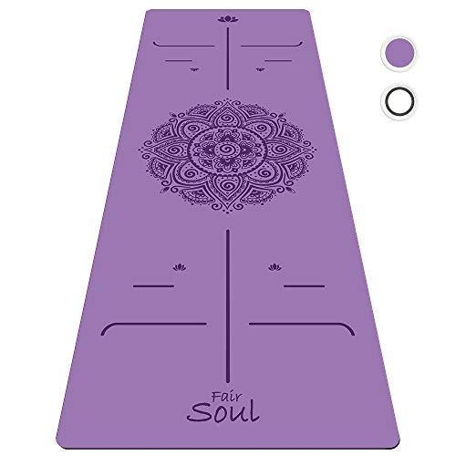 Fair Soul - Tappetino Yoga in Gomma Naturale Ecosostenibile con Sistema di Allineamento e Grafica Incisa a laser. Antiscivolo ed Antiurto. Il più grande, 183cm x 68cm (sp 5mm) Inclusa Yogabag