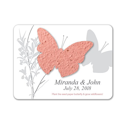 Bloomin Plantable Butterfly Wedding Favor with Seed Paper - Terra Cotta (25 Card Set)