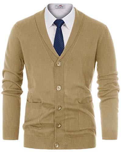PJ PAUL JONES Mens Knitwear Casual Shawl Collar Cardigan Sweaters Size L Light Tan