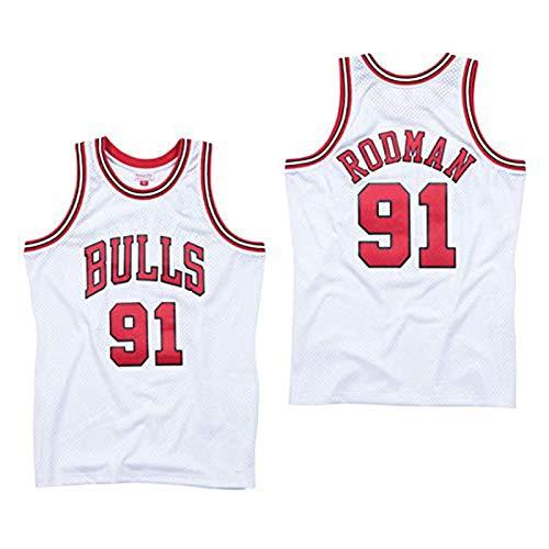 Camiseta de baloncesto retro 91# Rodman Jersey, Malla bordada sin mangas, Camiseta deportiva al aire libre blanca-XL