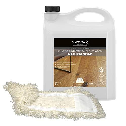 Woca-zeep voor houten vloeren, 5 liter, 1 katoenen overtrek voor 40 cm wissermop, merk: bouwmarkt-overtrek