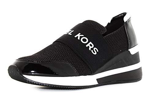 Michael Kors Scarpe Donna Sneakers Basse con Zeppa 43T8FXFS3D Felix Trainer Taglia 36 Nero