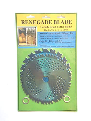 """Renegade Blade 2pk-8""""-20t/44t Combo Pack - (1) 20 Teeth Blue Hawk & (1) 44 Teeth Green Viper - Hybrid Pack GS1 Barcoded Shelf Hanging Blister Pack- Carbide Brush Cutter Blades, 203mm Dia."""