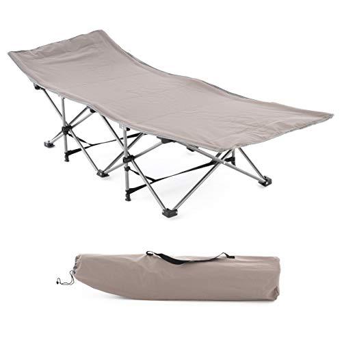 Nexos Feldbett Campingbett Klappbett Liege Feldbett Angelliege Bedchair Gartenliege klappbar beige Maße 188x63x37 cm Transporttasche