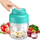 Mini Electric Food Chopper, 250ml Hand-Powered Onion Garlic Chopper Mincer, Portable Processor for...