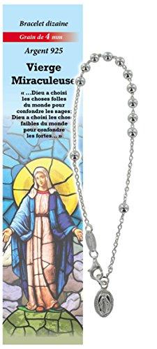 Pulsera Decenario Virgen de los Milagros de plata 925 con cuentas de Ø 4 mm y una oración en francés