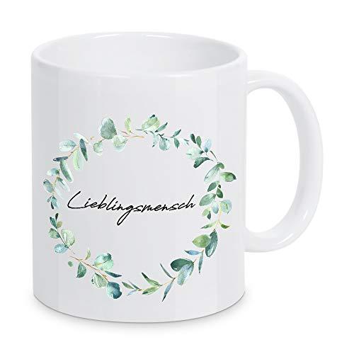 artboxONE Tasse Lieblingsmensch Eucalyptus von AB1 Edition - Kaffeetasse Liebe