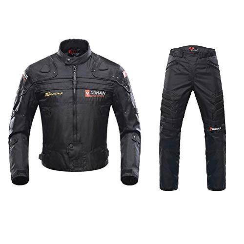 ANTLEP Motorradkombi Jacke Wasserdichtes Textil Hose 2 Stück Klage CE gepanzerte Kleidung für alle Wetter,Black,M
