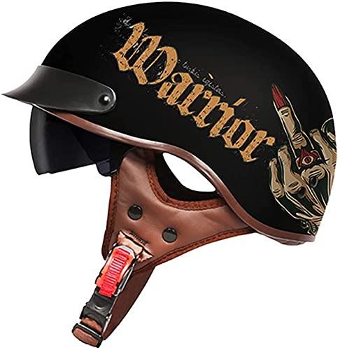 Casco De Motocicleta Con Visera,Casco Jet Para Moto Vintage Casco Medio Certificado ECE Hombres Y Mujeres Retro Seguridad Ligera Eléctrico Medio Casco Estilo Retro ( Color : F , Size : XXL = 63cm )