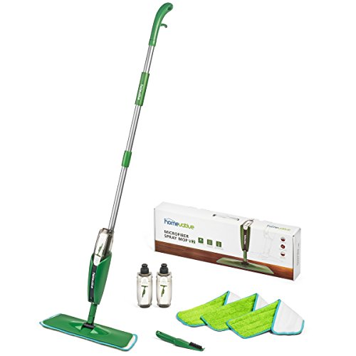 Homevative Microfiber Spray Mop Kit /w 3 pads, 2 bottles, and Precision Detailer, Floor push mop for...