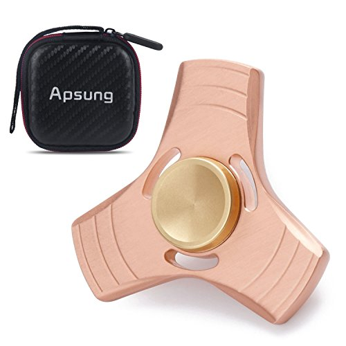 Apsung ADHD Fidget Toy, EDC Hand Spinner Fidget Toy, Finger Spinner, Copper High Speed Up to 6 Mins Spins, ADHD Focus Tri-Spinner to Relieves Anxiety and Boredom, Gift Case Package