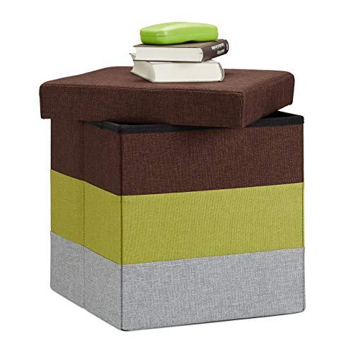 Relaxdays Pouf Imbottito con Contenitore, a Strisce, Colorato, Pieghevole, Mix di Colori, HxLxP: 38 x 38 x 38 cm ca