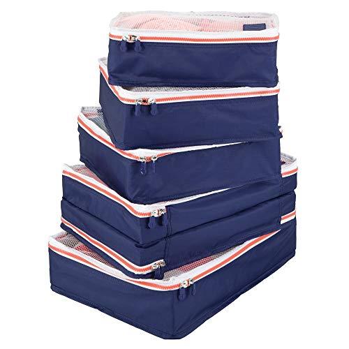 mDesign 5er-Set Aufbewahrungsbox mit Reißverschluss – Packtasche für Handgepäck, Koffer oder Reisetasche – atmungsaktive Wäschebox aus Polyester mit Netzeinsatz – marineblau, weiß und orange