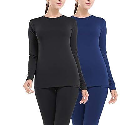 MANCYFIT Thermal Underwear for Women Long Johns Set Fleece Lined Ultra Soft 2 Pack Black/Blue X-Large
