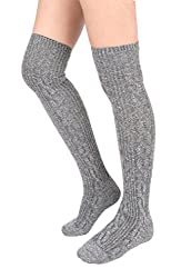 STYLE-GAGA Winter Wool Cable Knit Over The Knee High Socks