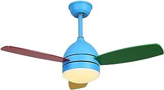 SJNSJN Ventilador De Techo Con Luz y Mando a Distancia 3 Aspas De Madera Natural Velocidad Del Viento Ajustable Brillo Ajustable Luz Del Ventilador De Techo Moderna LED Dormitorio,Azul