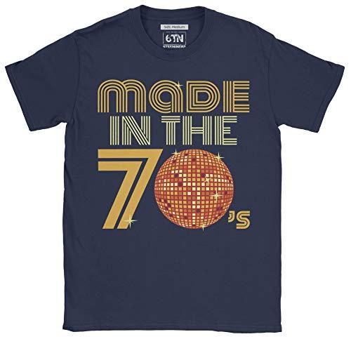 6TN Hombre Hecho en la Camiseta Retro de la Bola del Disco de los años 70 (L, Azul Marino)