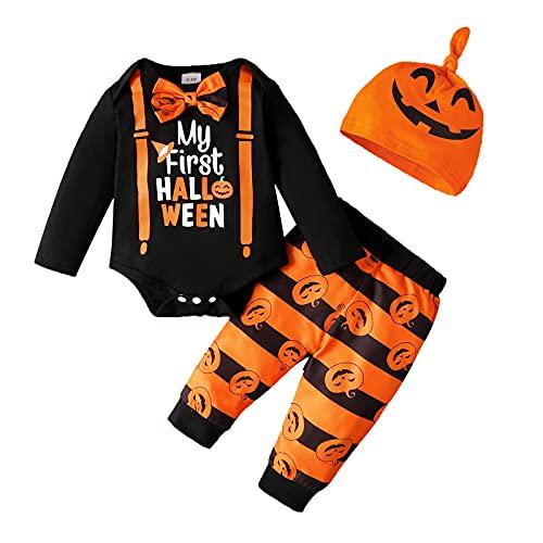 U-Sinmule Set di vestiti di Halloween per neonato My First Halloween Pagliaccetto Tutu Gonna Pantaloni Set Costume da Zucca, Nero , 9-12 mesi