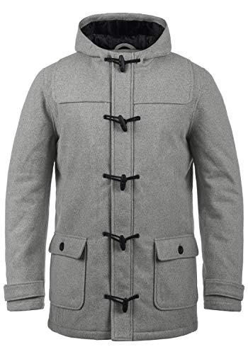 !Solid Wummer Herren Winter Mantel Wollmantel Winterjacke im Dufflecoat Stil mit Kapuze, Größe:XXL, Farbe:Grey Melange (8236)