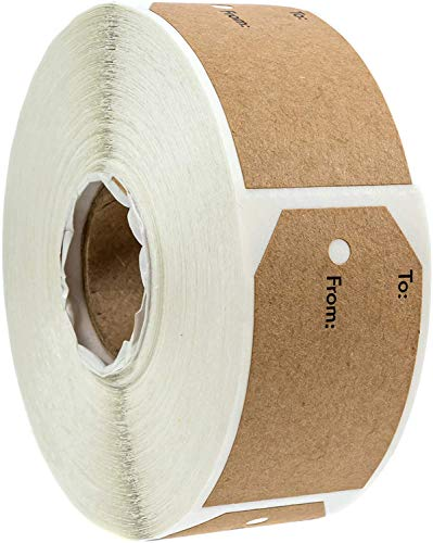 1.15'x2' Inch Natural Kraft to and from Gift Tag Sticker / 500 Labels per roll