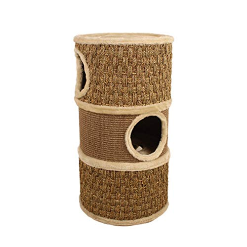DGHJK Small Cat Tower Activity Centre Scratching Post Tree With Condo Cat House Tunnel Toy,Sisal Bucket Cat Climbing Frame Pet Beds For Cats