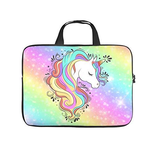 Funda para ordenador portátil con diseño de unicornio arcoíris, de neopreno, ligera, hecha a medida