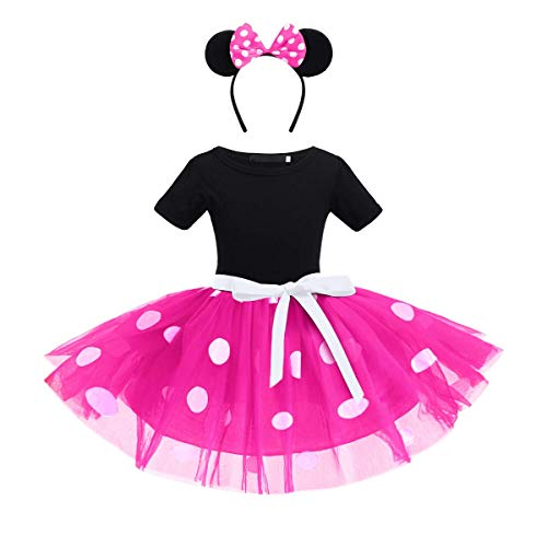 ODASDO Toddler Kids Baby Girls Polka Dots Dress Tutu Tulle Princess Costume Party Fancy Dress Up with Ear Bow Headband 2pcs Outfit Christmas Halloween Carnival Cospaly Ballet Dance Hot Pink 2-3Y