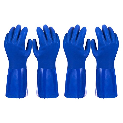 Rubber Household Gloves - Cotton Lined Dishwashing Kitchen Gloves (2 Pair, Small)