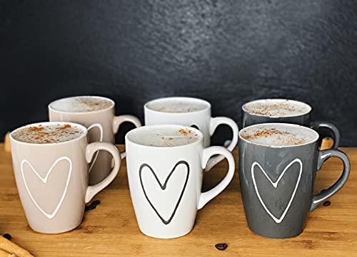 Kaffeebecher mit Herz in weiß, beige und grau - 6er Set Tasse aus Keramik für ca. 250 ml