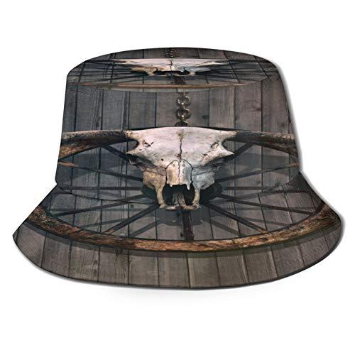 Sombrero Pescador Unisex,Rueda de carro de madera de granero Cráneo de toro de cuernos largos y,Plegable Sombrero de Pesca Aire Libre Sombrero Bucket Hat para Excursionismo Cámping De Viaje Pescar