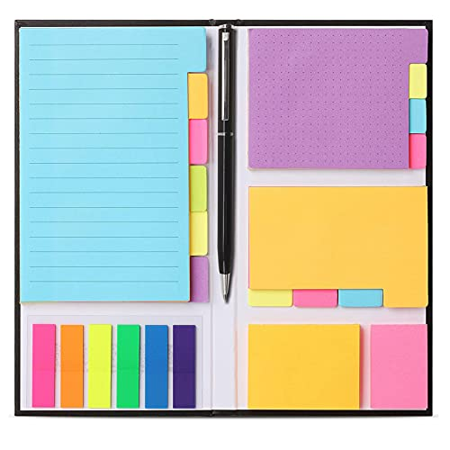 FLYMAN Colorful Self-Stick Notes Pads Bundle, Dividers Tabs, Book Note
