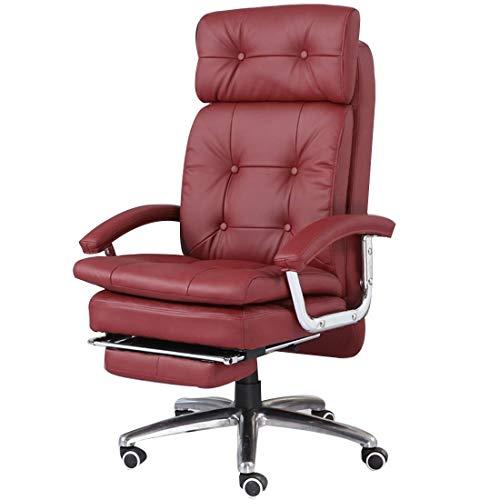 Silla de oficina reclinable y ergonómica, reclinable de piel sintética, rotación de 360 grados, altura ajustable, mecanismo de inclinación Synchro con reposapiés silla de oficina, color rosso