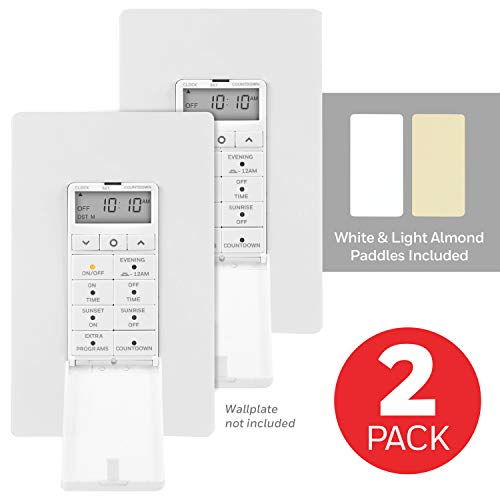 Honeywell Daysmart 7-Day In-Wall Digital Timer 2 Pack, Presets, Program Settings/Countdown, Door Cover, Override Button, Sunrise to Sunset, Ideal for Porch, Seasonal Lighting, LED, 47940, White