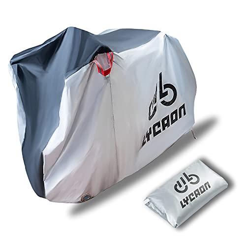 LYCAON Fundas para Bicicletas, 210D Poly Fabric UV Protection Impermeable Anti Dust Bike Rain Cover para Bicicletas de Carretera de Montaña, con Bolsa de Almacenamiento (For 3 x 29 Inch Bike/Plata)