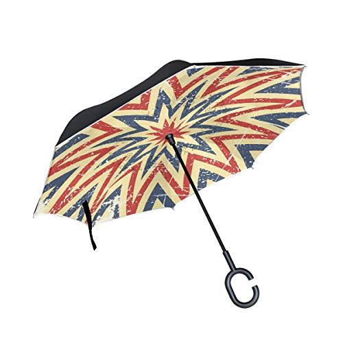 SKYDA Doppelschichtige umgekehrte Regenschirme, umgekehrt, faltbar, Vintage-Hintergrund-Vorlage, winddichter Regenschirm für Auto Regen Outdoor mit C-förmigem Griff