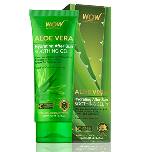 WOW Skin Science Aloe Vera with Hyaluronic Acid, Witch Hazel Extract, Green Tea & Calendula Hydrating After Sun Soothing Gel - No Parabens, Silicones & Color - 100 mL