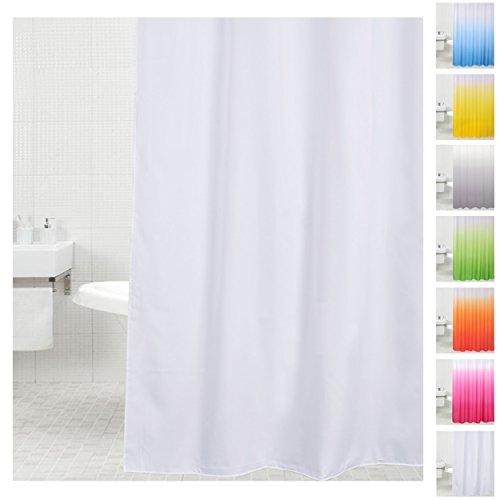 Sanilo Duschvorhang, viele einfarbige Duschvorhänge zur Auswahl, hochwertige Qualität, inkl. 12 Ringe, wasserdicht, Anti-Schimmel-Effekt (180 x 200 cm, Weiß)