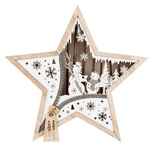 Unbekannt, III Stern aus Holz mit LED Beleuchtung, Schneemann, ca. 32 x 32 x 5 cm, mit 6 Stunden Timer, batteriebetrieben, für Weihnachten, im Winter, als Stimmungslicht, Braun