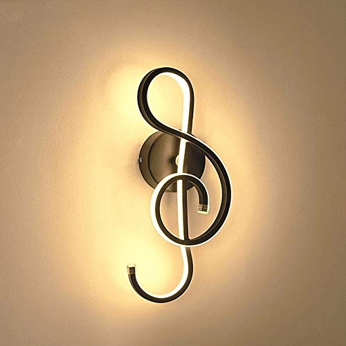 Creativo Moderno Lámpara de Pared LED, Diseño de Clave de Sol, Aplique Pared Led Interior Lámpara LED de 22W Minimalista Aluminio, iluminación decorativa para Dormitorio, Sala de estar, Café, Pasillo