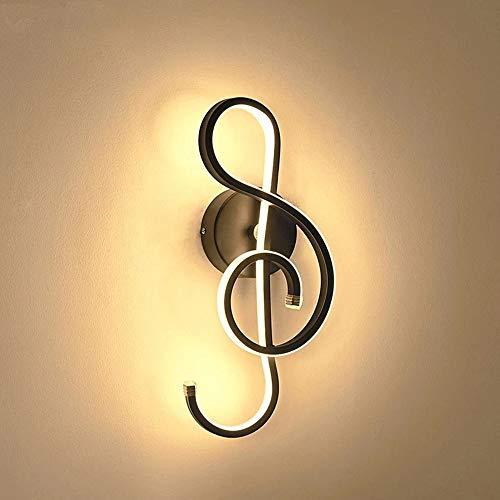 Creativo Moderno Lámpara de Pared LED, Diseño de Clave de Sol, Luz de Pared Interior Lámpara LED de 22W Minimalista Aleación de Aluminio, iluminación decorativa para el hogar, el salón, 3000K Negro