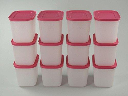 TUPPERWARE Gefrier-Behälter 1,1L weiß-pink (12) hoch Eis-Kristall Eiskristall