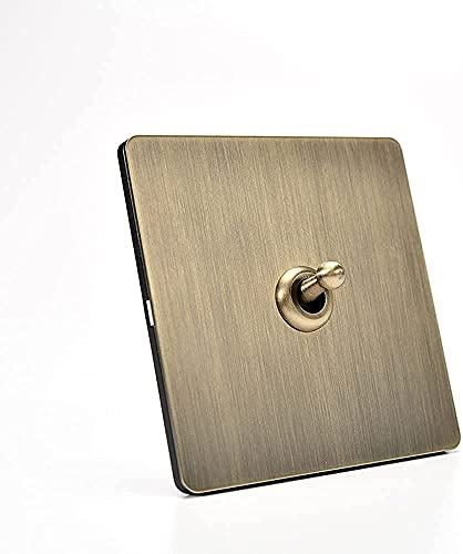 KDLAKE Panel de acero inoxidable de bronce, atenuador, interruptor giratorio, pared, 1-4 cuadrilla, 2 vías, luz de pared, interruptor de palanca, enchufe 110-250V, interruptor de luz de pared antiguo