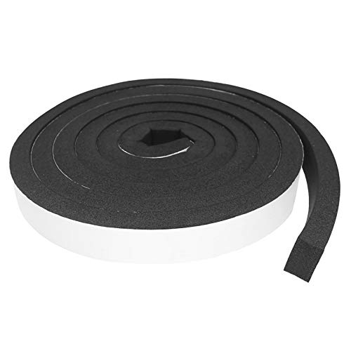 Foam Insulation Tape Self Adhesive,Weather Stripping for Doors and Windows,Sound Proof Soundproofing Door Seal,Weatherstrip,Cooling,Air Conditioning Seal Strip (1In x 3/4In x 16Ft, Black)