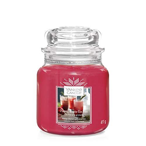 Yankee Candle Candela profumata in giara media, Gin Fizz al melograno, collezione Natale in montagna, durata: fino a 75 ore