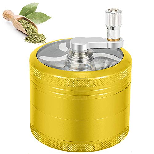 SNUGROM Hand Cranked Herb Grinder, 4 Piece, 2.5 Inch, Spice Grinder with Diamond Shaped Teeth, Large Capacity with Pollen Cather (Gold),GLB200