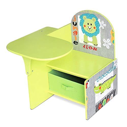Lalaloom SWEET SEAT - Pupitre infantil de madera para habitación (escritorio para niños con asiento y cajón multifuncional), 58.5x51.3x58.5 cm, color Verde
