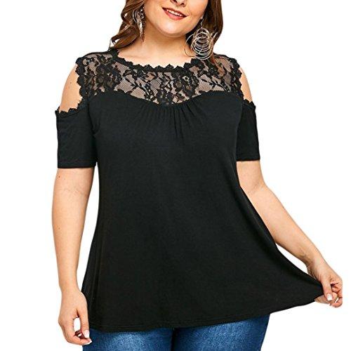 FAMILIZO Camisetas Mujer Verano Camisetas Mujer Tallas Grandes XL~5XL Blusa Mujer Elegante Camisetas Mujer Manga Corta Algodón Camisetas Mujer Fiesta Camisetas Sin Hombros Mujer (5XL, Negro)