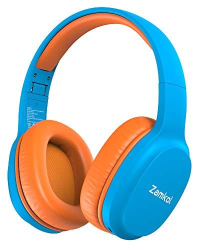 Zamkol - Auriculares inalámbricos para niños (Bluetooth 5.0, 40 horas de autonomía, auriculares inalámbricos estéreo plegables, portátiles con micrófono integrado y límite de volumen de 85 dB