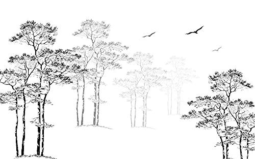 Fotomurales Bosquejo, Árbol Grande, Pájaro 3D Efecto Papel Pintado Tejido No Tejido decoración de Pared decorativos Murales Moderna Diseno 450X300Cm